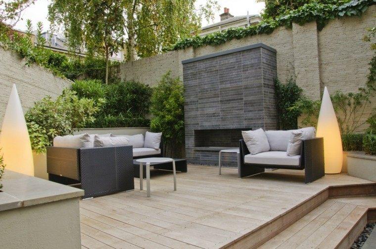 diseño de jardines chimenea muebles suelo madera moderno