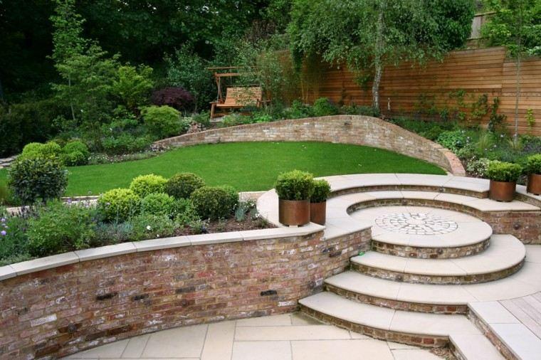 diseño de jardines escaleras muro cesped banco ideas