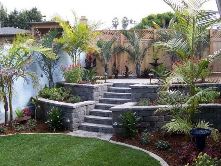 diseño de jardines estilo tropical palmeras ideas