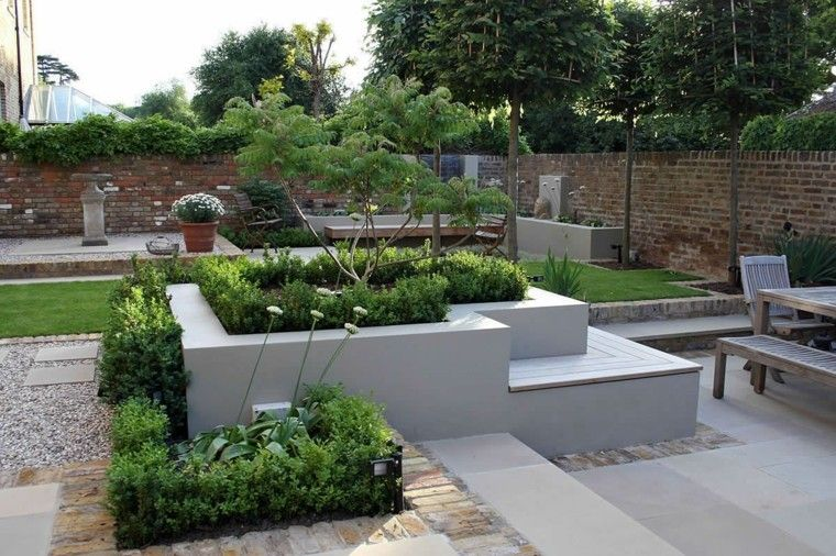 diseno de jardines hormigon cesped distintas areas ideas