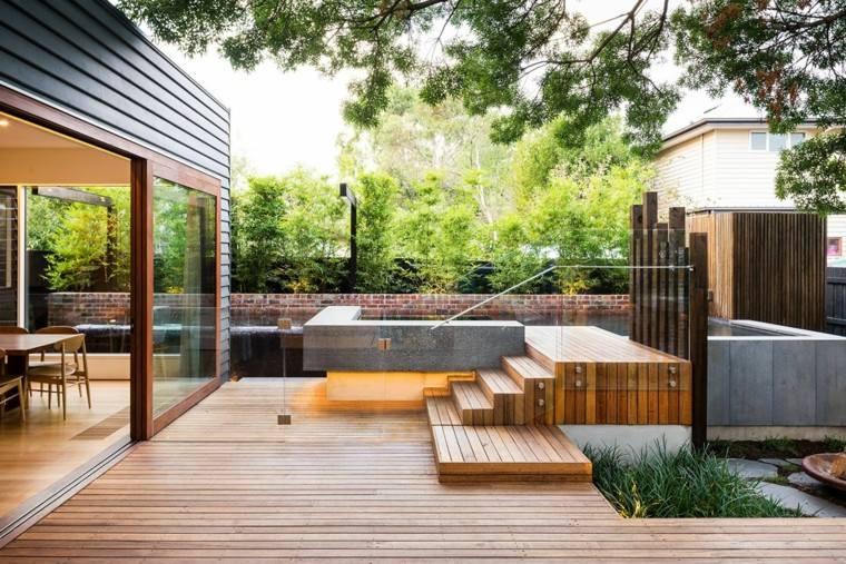 diseno de jardines suelo madera escaleras estilo minimalista ideas