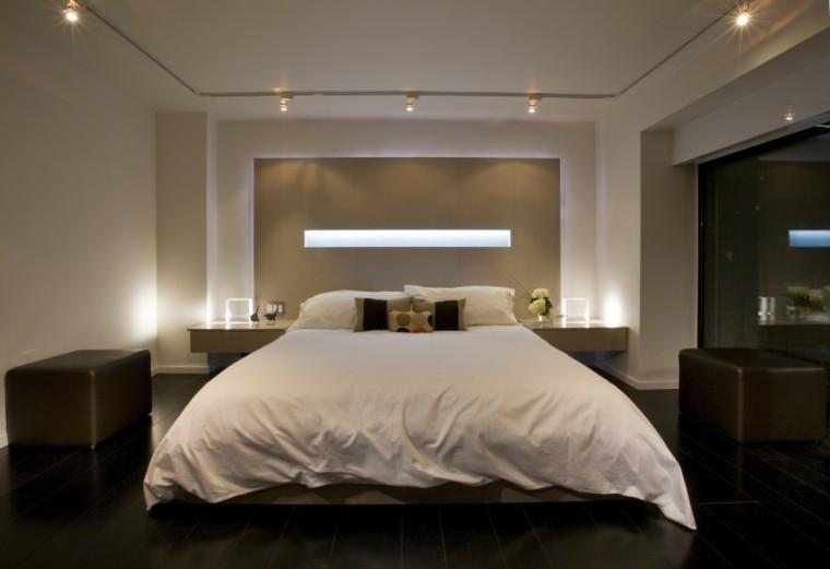 diseno simple iluminacion pared cama grande dormitorio ideas
