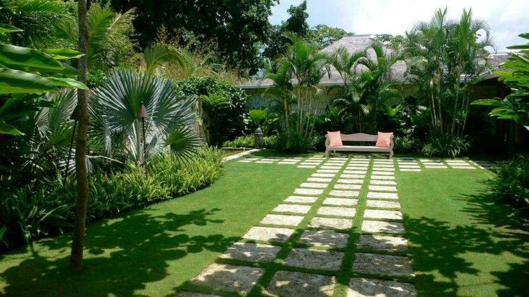 diseno simple jardin tropical palmeras privado ideas
