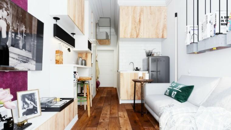 diseno suelo madera apartamento pequeno sofa blanca ideas