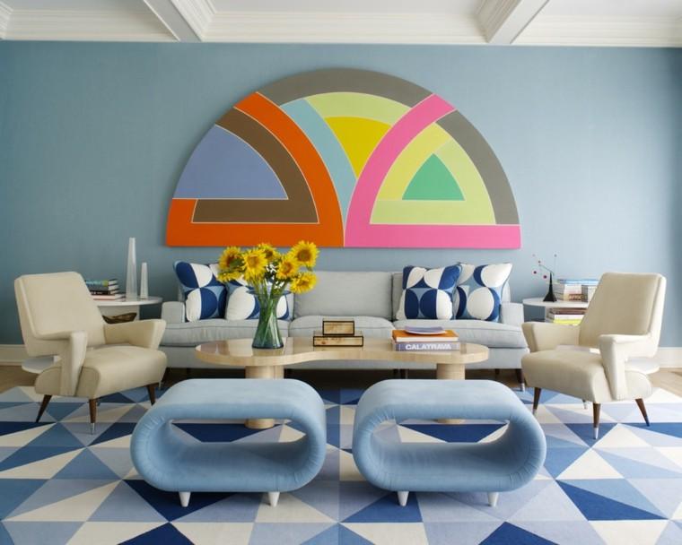 divertida sala estar cuadro colores