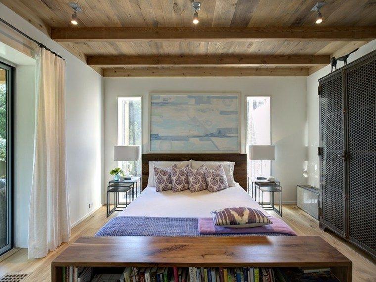 dormitorio estrecho suelo madera cuadro pared ideas