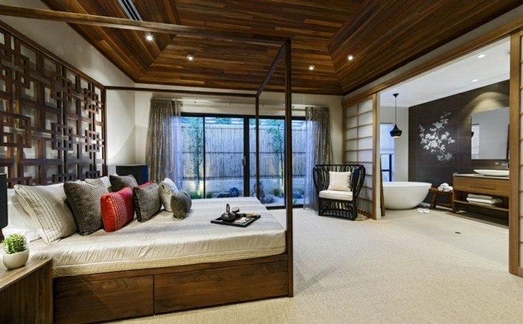 dormitorio abierto bano amplio cama dosel ideas