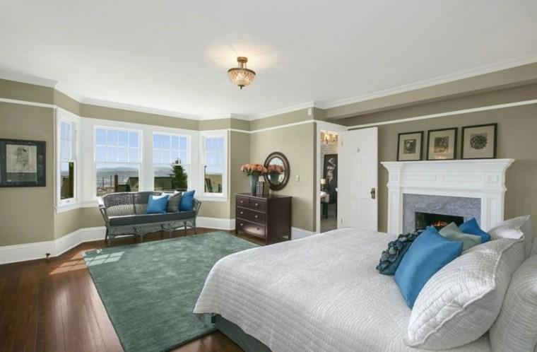 dormitorio alfombra verde cojines sofa ideas