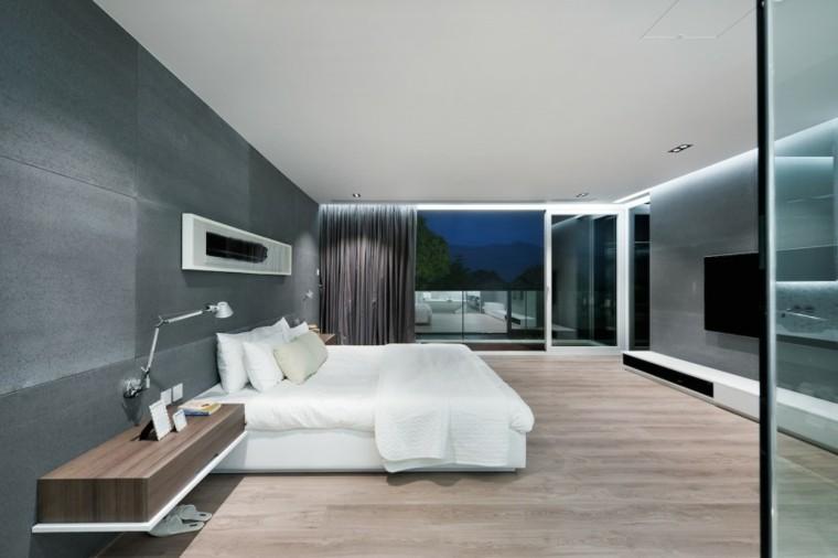 dormitorio amplio suelo madera ventanal ideas