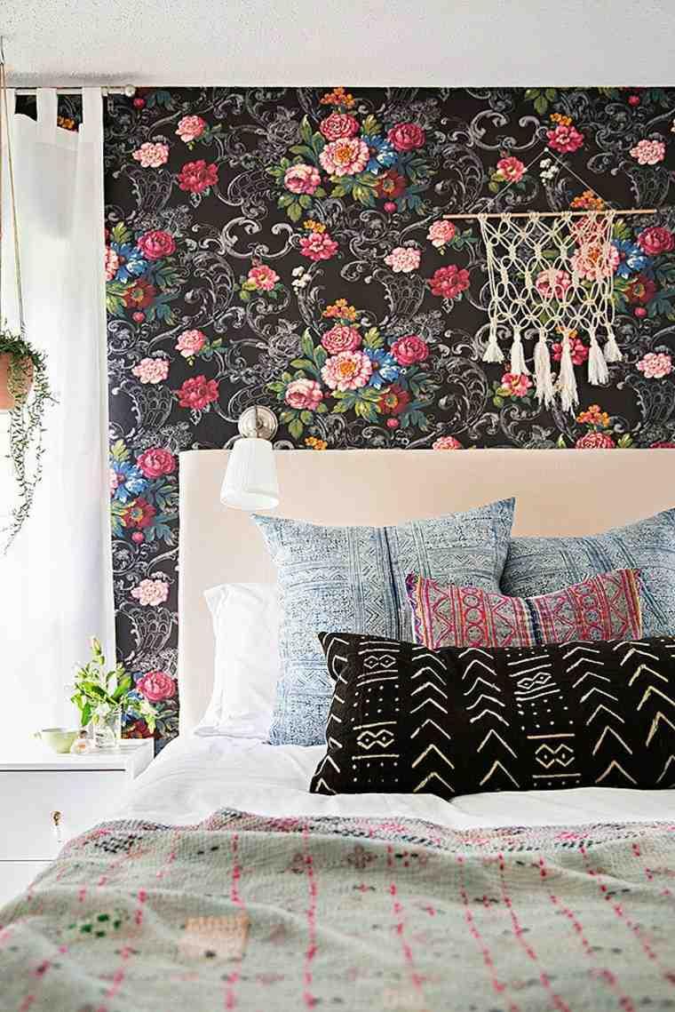 dormitorio apartamento pequeno papel pared flores ideas