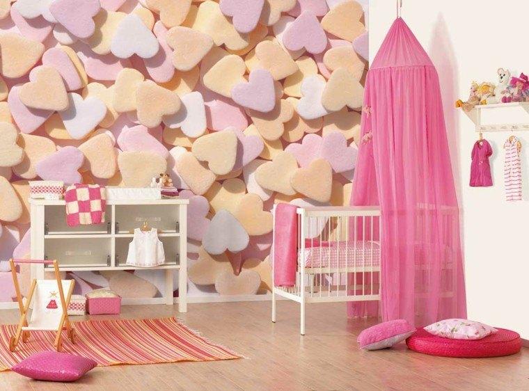 dormitorio bebe corazones acolchados 3d