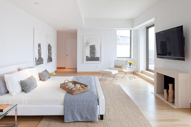 dormitorio color blanco suelo madera