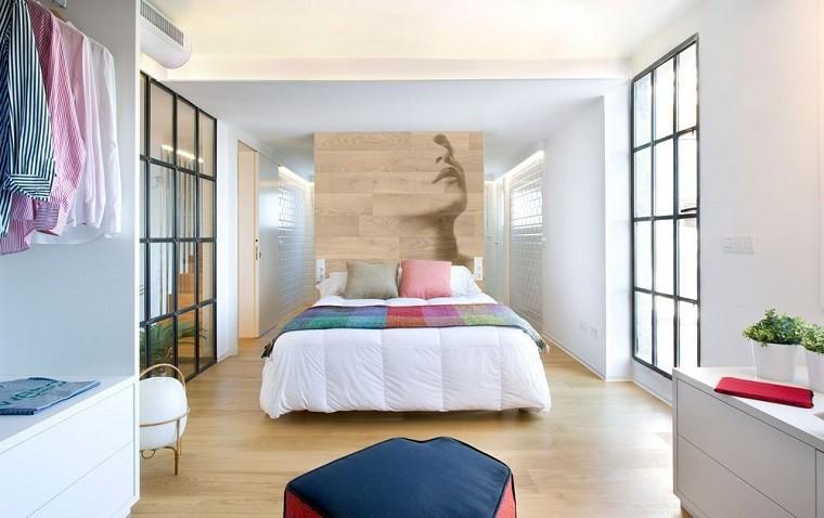 dormitorio cabecero cama laminado roble