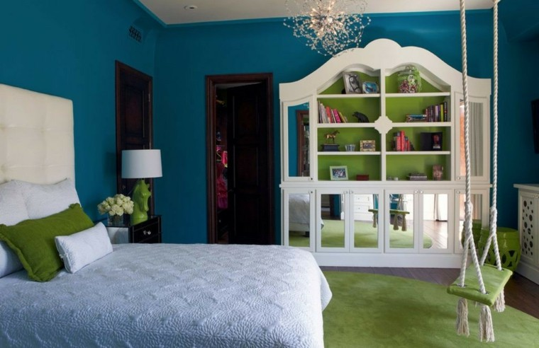 dormitorio cama cabecero columpio armario espajos puertas ideas