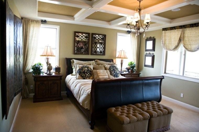 dormitorio cama cojines madera estilo ideas