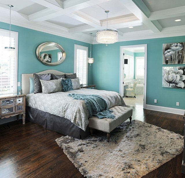dormitorio color verde aguamarina