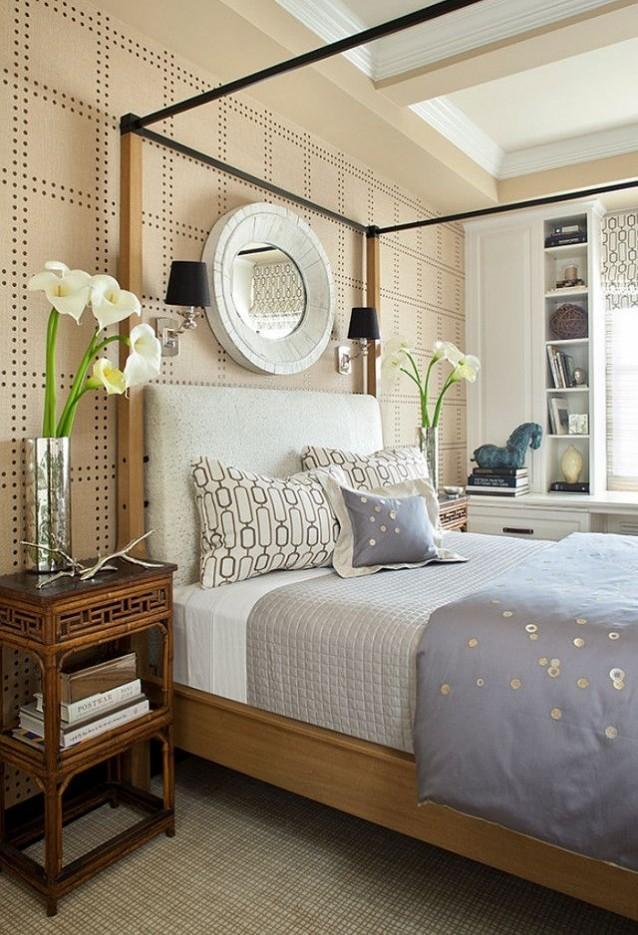 dormitorio colores pastel espejo redondo