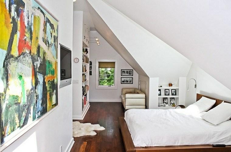 dormitorio cuadros puinturas abstractas colores