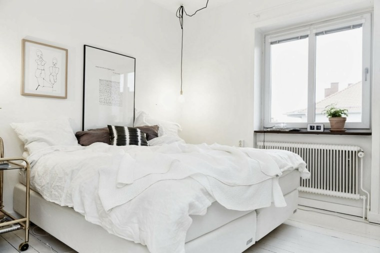 dormitorio diseno escandinavo blanco paredes moderno