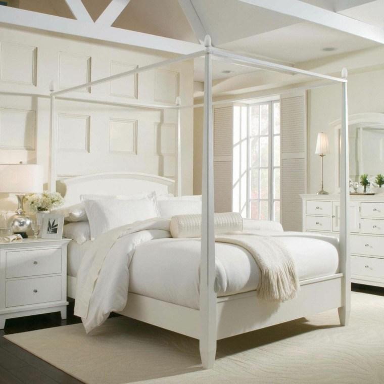 dormitorio diseno escandinavo cama dosel blanco moderno