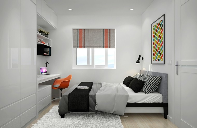 dormitorio diseno escandinavo colores clasicos gris negro moderno