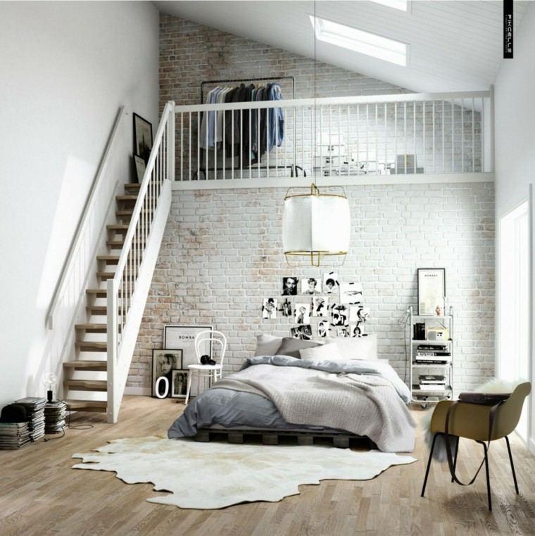 dormitorio diseno escandinavo escalera pared baldosas moderno
