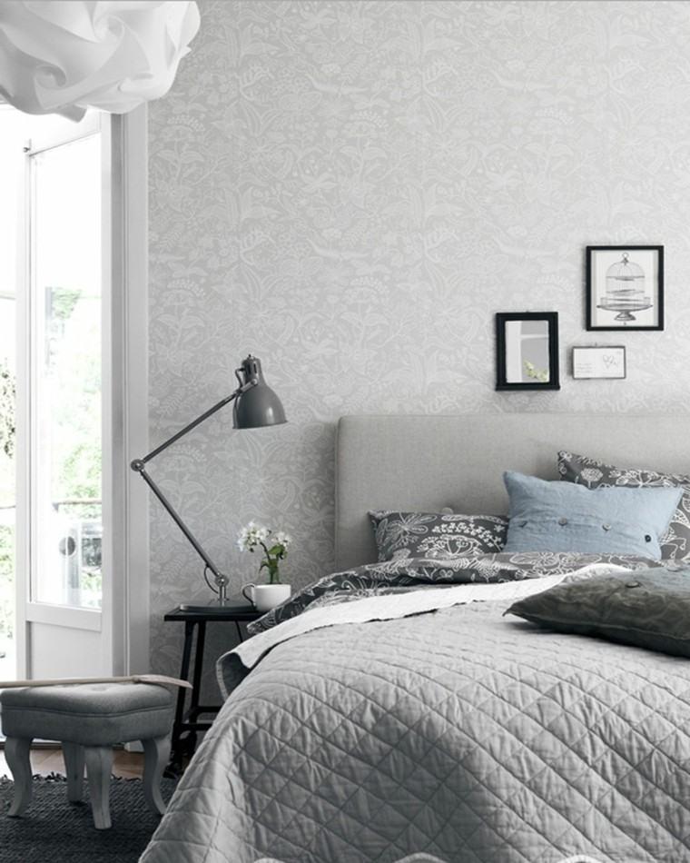 dormitorio diseno escandinavo pared elegante motivos florales moderno