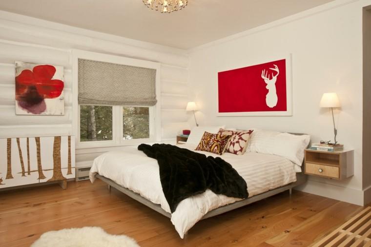 dormitorio diseno escandinavo pequeno rojo moderno