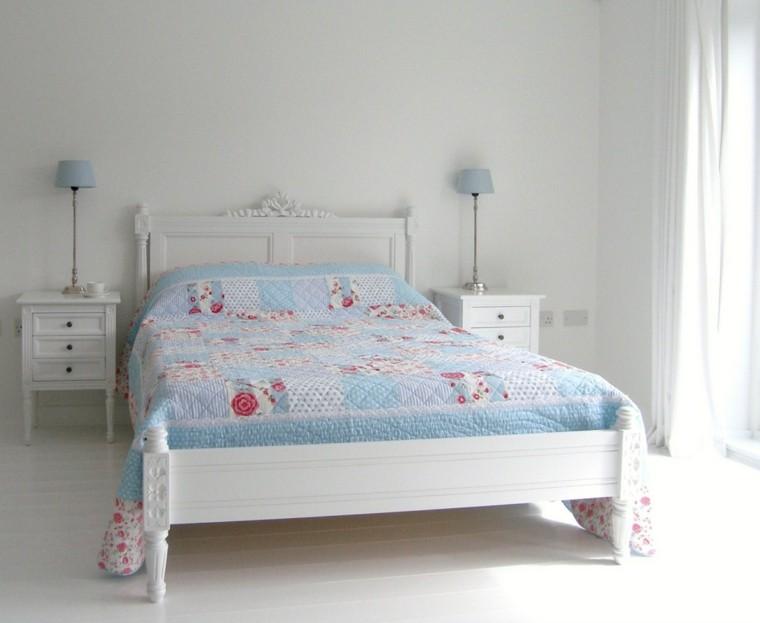 dormitorio diseno escandinavo ropa cama azul moderno