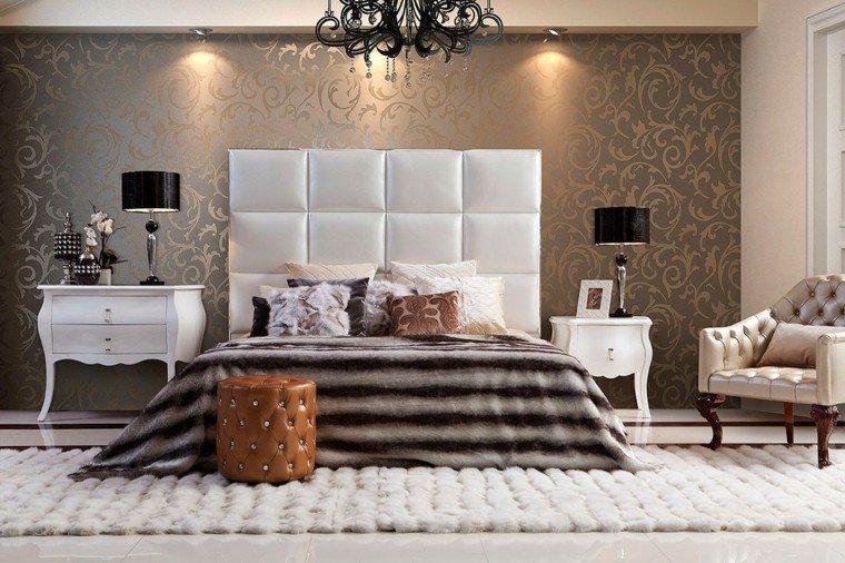 dormitorio estilo lujo cabecero cama cuero plata ideas