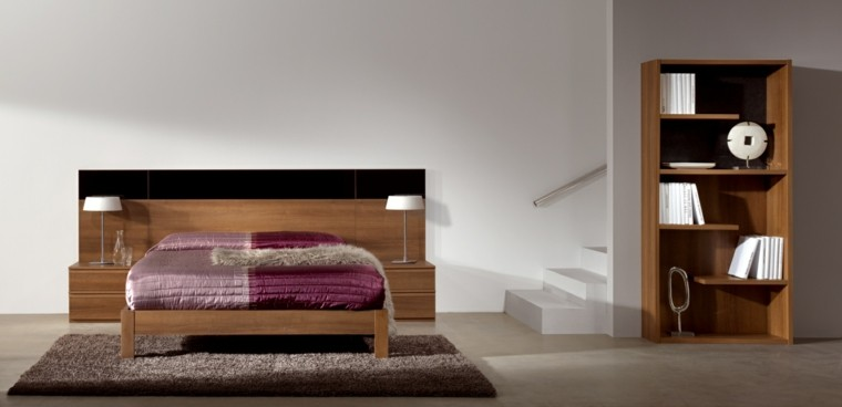 dormitorio estilo minimalista cabecero cama madera ideas