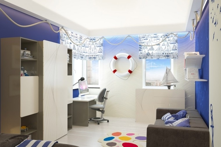 dormitorio infantil color azul marino
