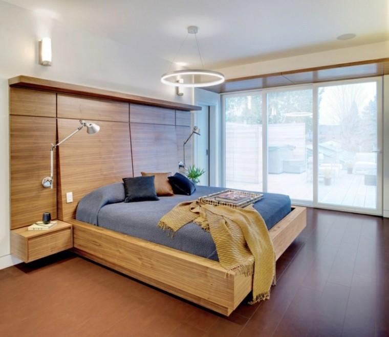 dormitorio luminoso ventanal cama grande madera moderno