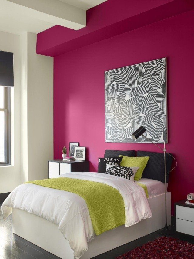 dormitorio estilo moderno pared magenta