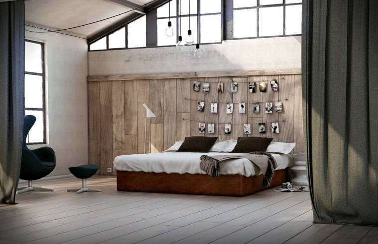 dormitorio estilo moderno paredes madera