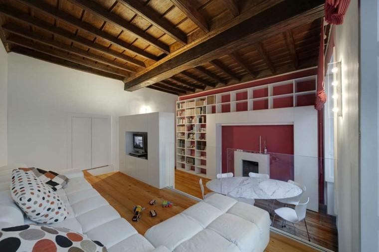 dormitorio moderno techo madera rustico