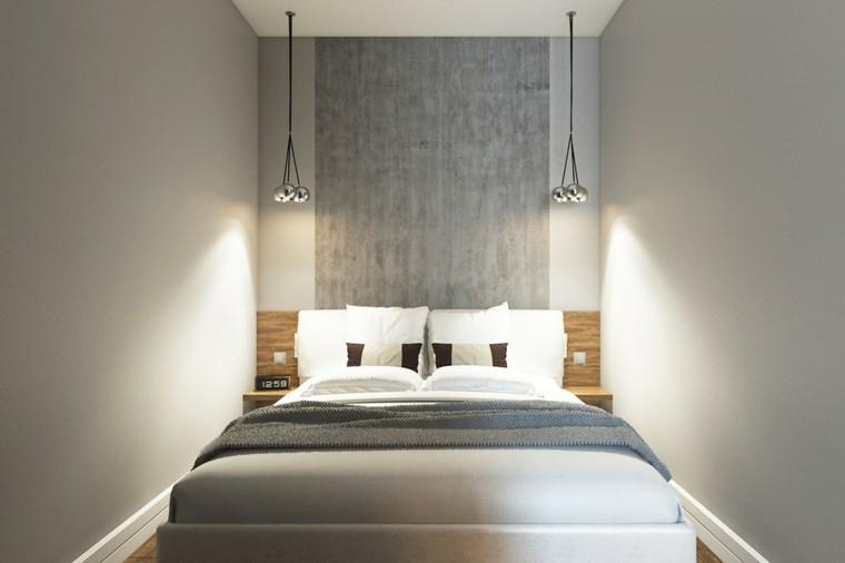 dormitorio pequeño cabecero color gris