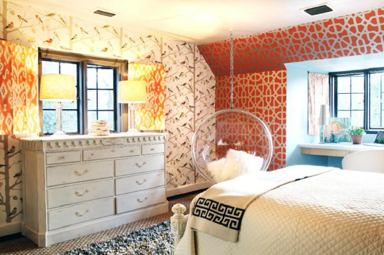dormitorio papel pared estampa pajaros arbol modernas
