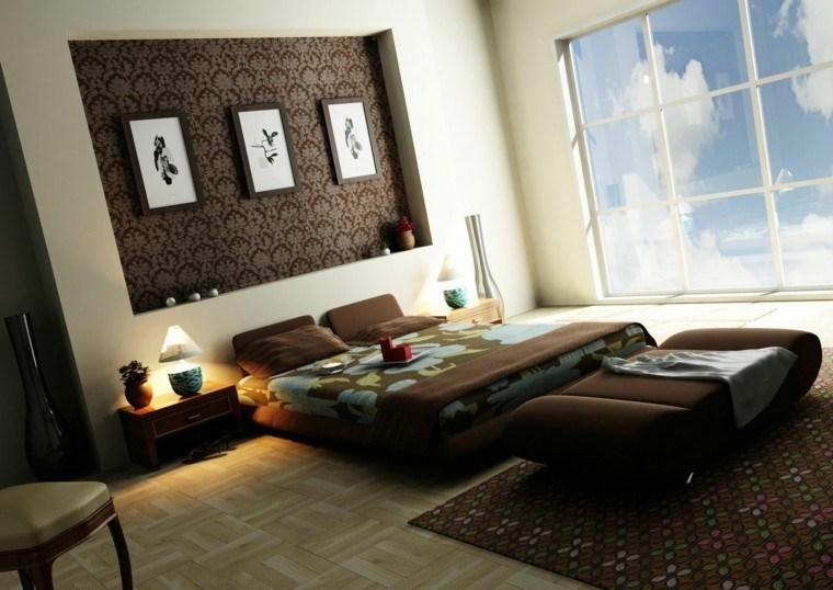 dormitorio decoracion papel pared marron
