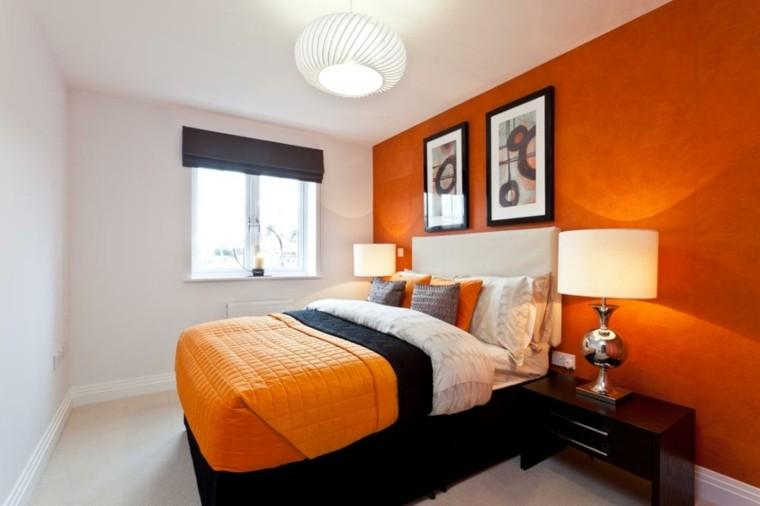 dormitorio pequeno paredes blanco naranja ideas