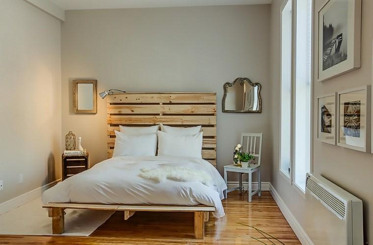 dormitorio pequeno cama palets cabecero moderno ideas