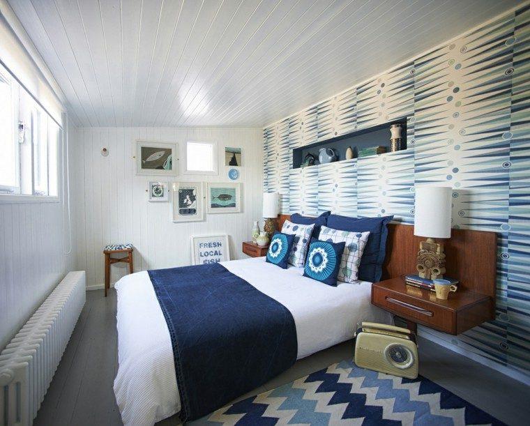 dormitorio pequeno estrecho moderno azul blanco