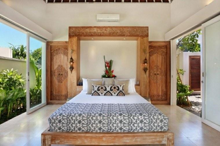 dormitorio precioso cama madera acabados pared ideas