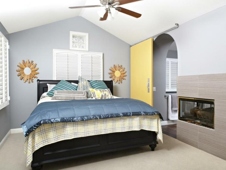dormitorio puerta amarilla corredera