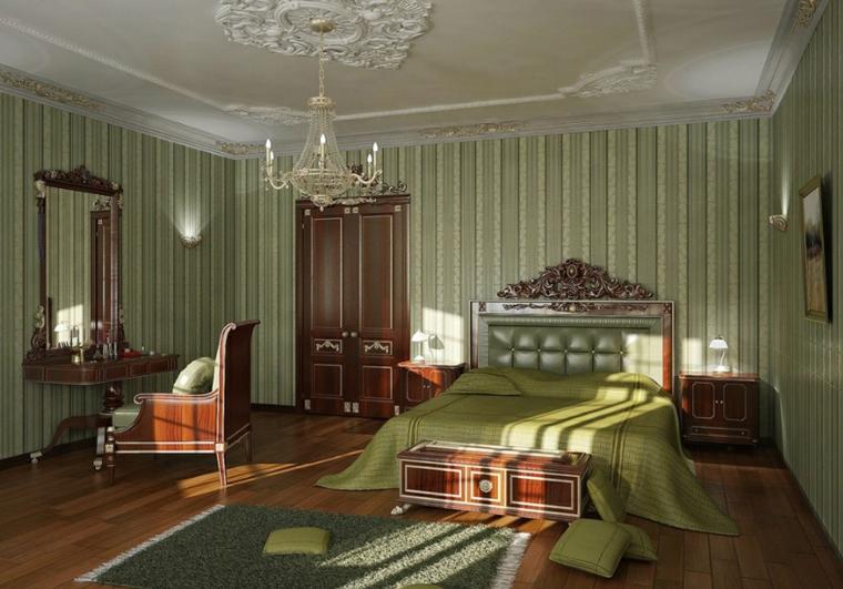 dormitorio estilo regio paredes verdes