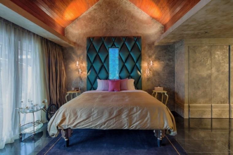 dormitorio respaldo cama verde iluminacion romantica ideas