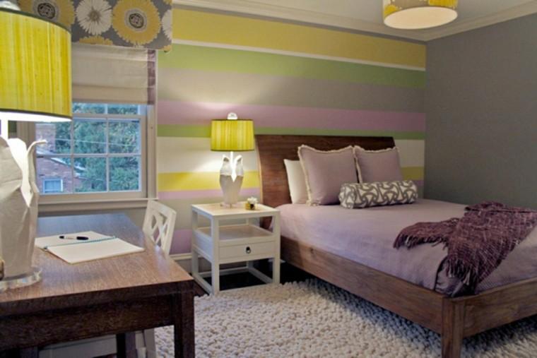 dormitorio varios colores vibrantes rayas ideas
