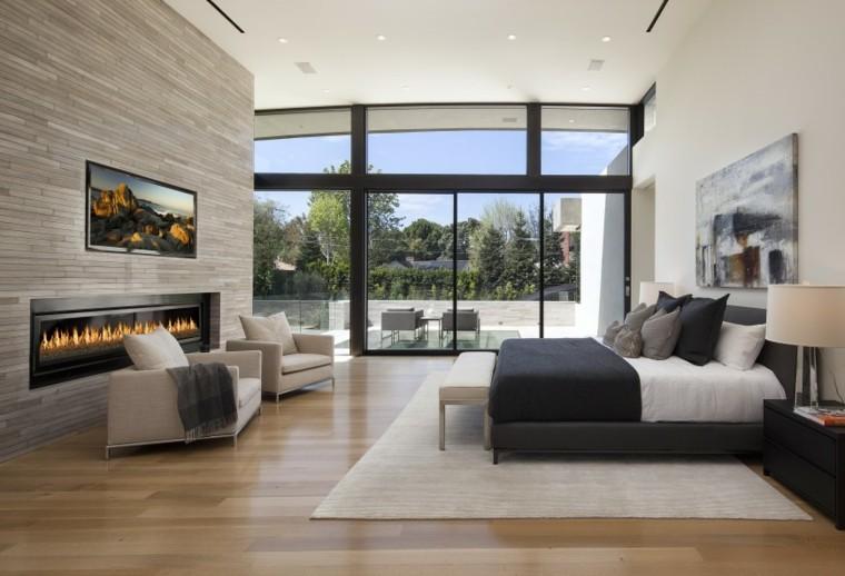 dormitorio ventanal chimenea increible luminoso ideas