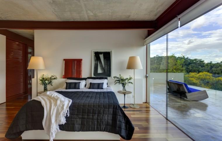 dormitorio ventanal mesitas noche ropa cama negra ideas
