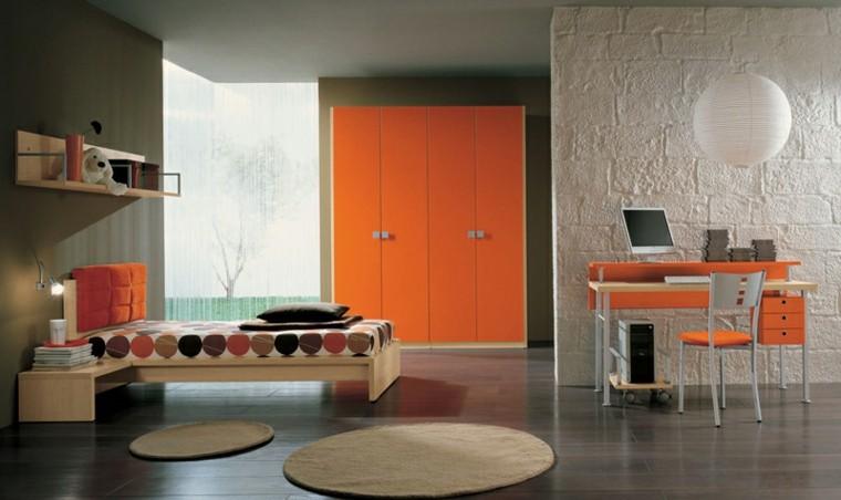 dormitorios adolescentes amplio armario grande naranja ideas